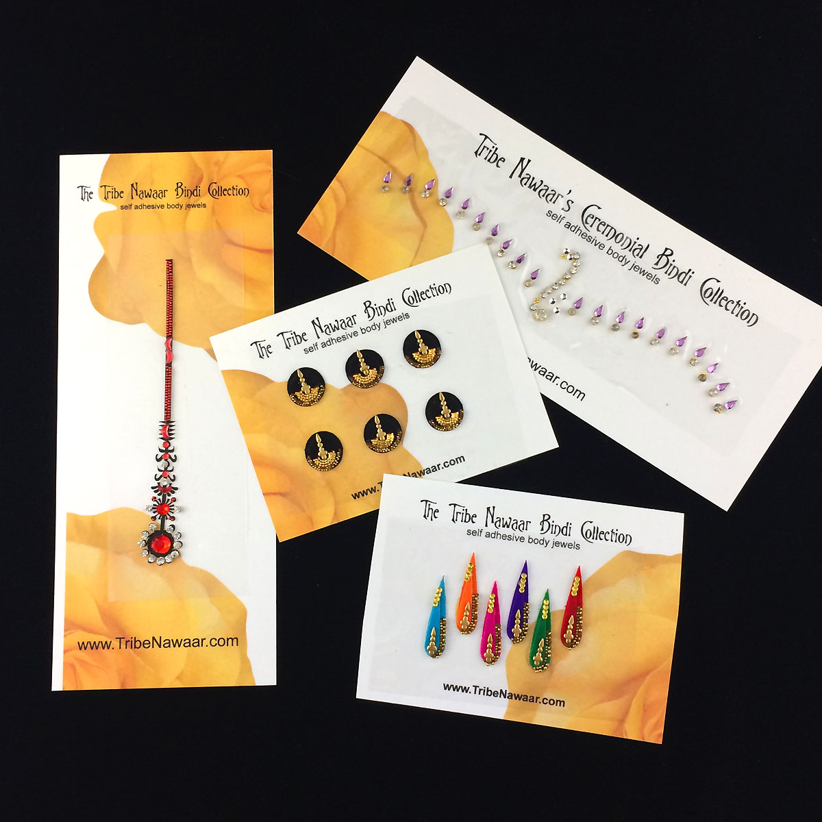 Tribe Nawaar's bindi sampler set: example of some of the variation in color, size, shape and quantity