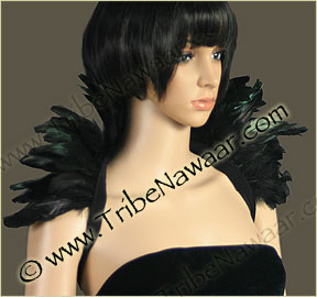 Tribe Nawaar's black premium theatrical feather collar