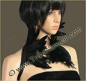 Tribe Nawaar's black premium theatrical feather collar, front, closed