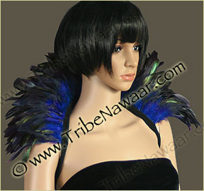 Tribe Nawaar's royal blue premium theatrical feather collar