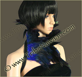 Tribe Nawaar's royal blue premium theatrical feather collar, front, closed