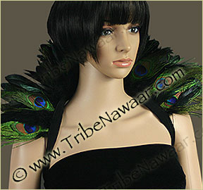 Tribe Nawaar's double peacock eyes theatrical feather collar