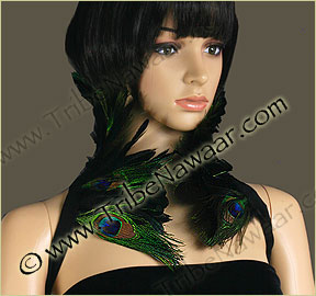 Tribe Nawaar's double peacock eyes theatrical feather collar, closed
