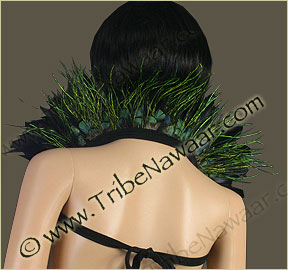 Tribe Nawaar's peacock flue theatrical feather collar, back