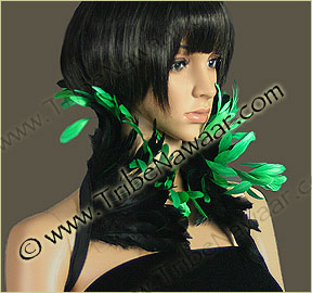 Tribe Nawaar's emerald queen theatrical feather collar, closed