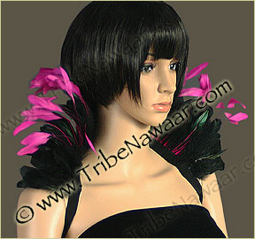 Tribe Nawaar's hot pink queen theatrical feather collar