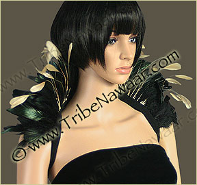 Tribe Nawaar's natural queen theatrical feather collar