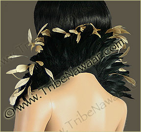 Tribe Nawaar's natural queen theatrical feather collar, back