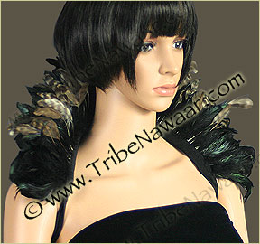 Tribe Nawaar's natural variegated queen theatrical feather collar