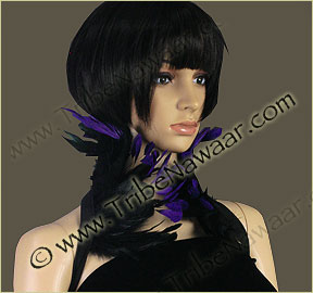 Tribe Nawaar's purple queen theatrical feather collar, closed