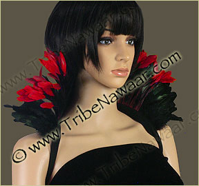 Tribe Nawaar's red queen of hearts theatrical feather collar