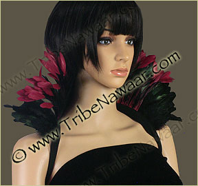 Tribe Nawaar's wine queen theatrical feather collar