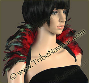 Tribe Nawaar's rich red premium theatrical feather collar