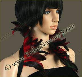 Tribe Nawaar's rich red premium theatrical feather collar, front, closed