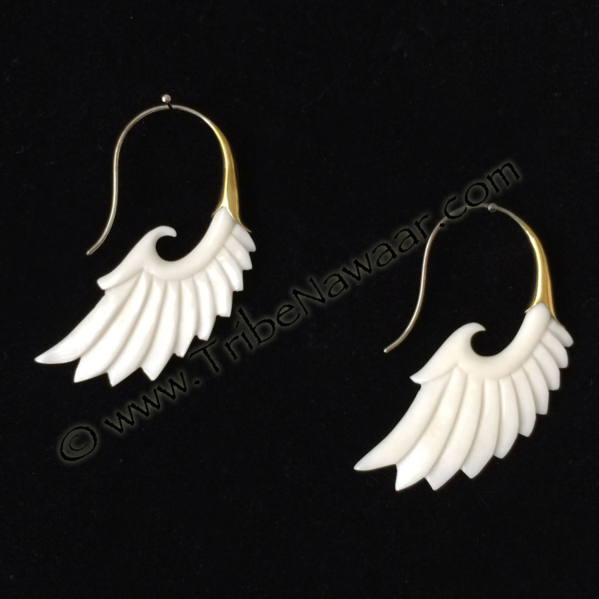 Tribe Nawaar's brass & bone earrings