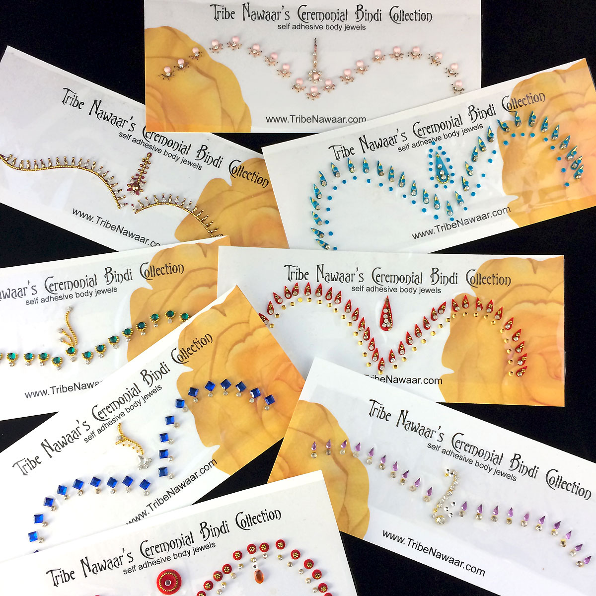 Tribe Nawaar's traditional ceremonial bindi set sample of some of the variation in color, size, shape and quantity