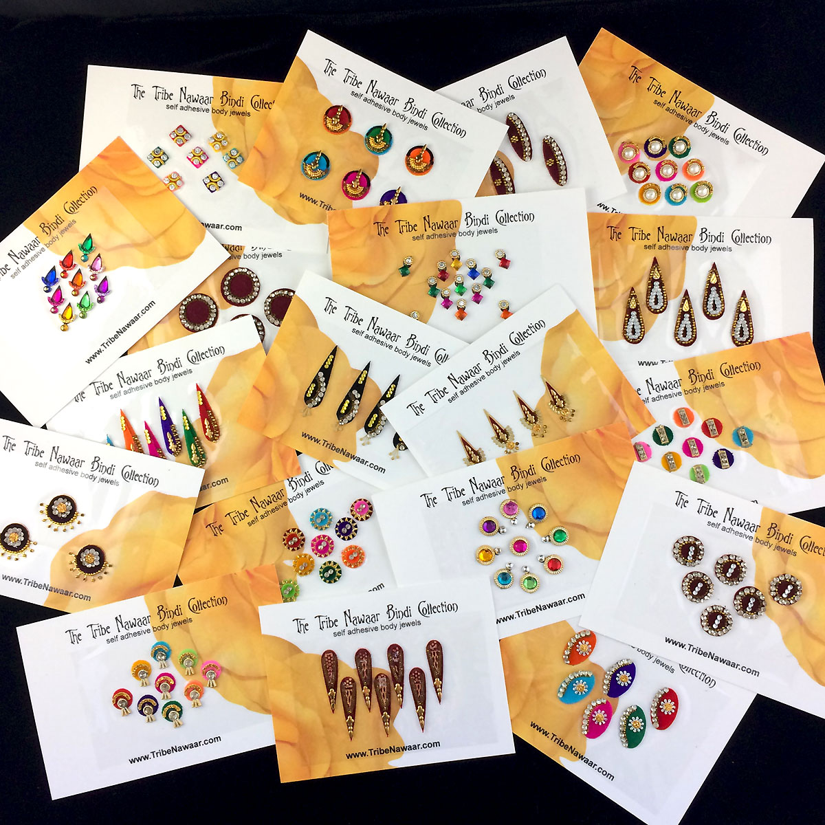 Tribe Nawaar's standard bindi pack sample of some of the variation in color, size, shape and quantity