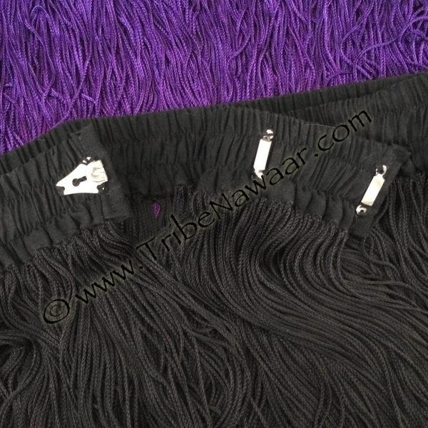 Tribe Nawaar's violet purple economy tribal fringed belt, waistband & closures