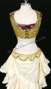 Tribe Nawaar's corseted bodice top & 25 yard cupcake skirt with a gold belt