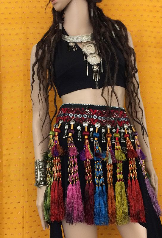 Tribe Nawaar's royal tassels worn as a festival skirt
