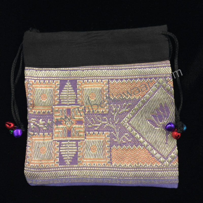 Tribe Nawaar's lilac sari fabric zil bag