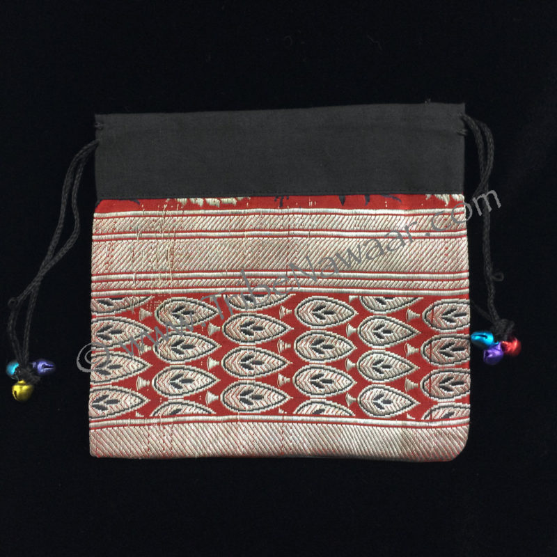 Tribe Nawaar's red peacock sari fabric zil bag