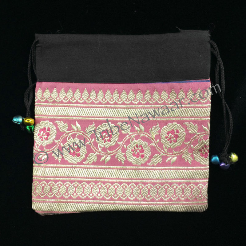 Wild Roses Sari Fabric Zil Bag