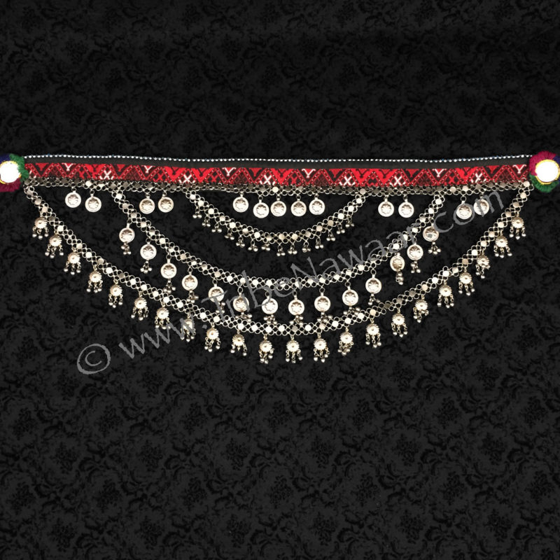 Tribe Nawaar's Draped Chain Fall Tribal Bellydance Belt, laid flat