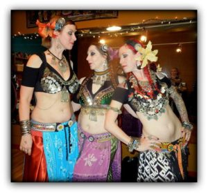 DIY tribal bellydance panel skirts as modeled by Vespertina Dance Project