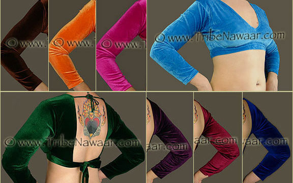 Velvet choli tops from Tribe Nawaar, perfect for tribal style belly dance