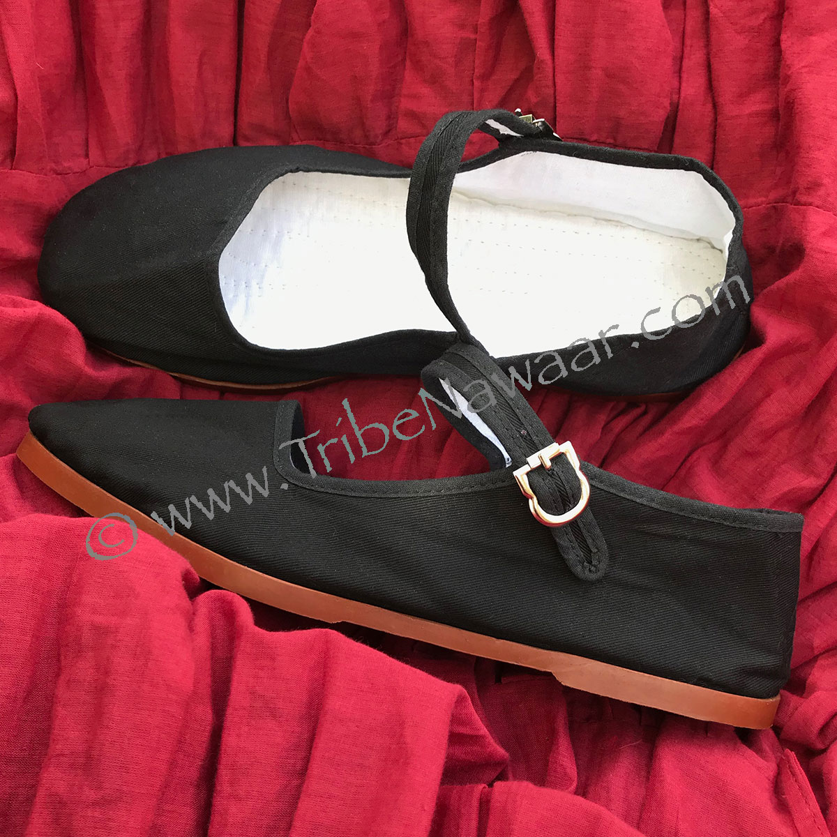 Black Canvas Belly Dance Shoes, Size 5